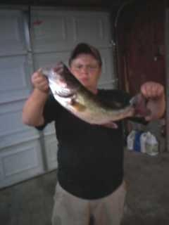 caught the fish in a  farm pond in reidsville  nc caught on on a zoom 12 inch limetruese trick worm  it weighed bout 4 1/2 to 6 pounds i realy dont know   but it put up a hecka of a fight