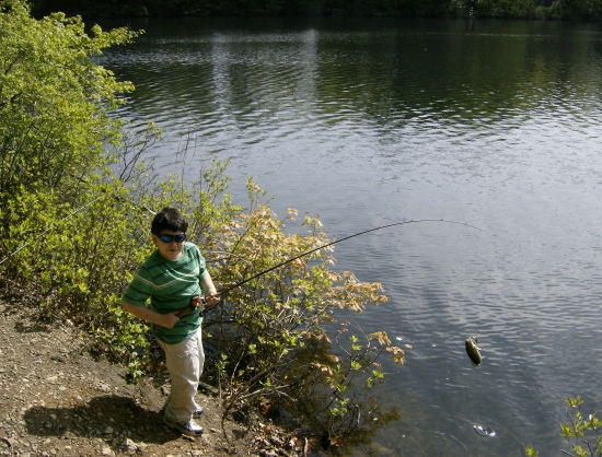 This is what fishing is all about,my six and a half year old son (NICHOLAS) catching his first bass.