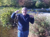 Horn Pond in Woburn MA on October 9th 2010. Dickie caught his limit of Rainbow Trout. Used Powerbait to catch all three.