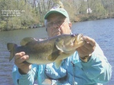 I got this nice 5lb  Bass on 4/24/2013 with my fly rod and a Green/Yellow belly Umpqua Swimming Frog. A Bass killer fly rod lure. I Caught her at the Brownsmills Lake in NJ Good Fishing Ray