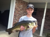 June 4, 2014.  Caught it on 4lb test. It's a 6 to 6 1/2 pound bass.