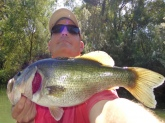 Crescent Bend Nature Park, Cibolo Creek. Cibolo, TX. Kayak fishing. Zoom white pearl fluke, 5/0 hook, 6# test.