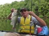 Large Mouth Bass, Cibolo Creek near Seguin, TX. Zoom White Ice fluke, 5/0 hook, 6# test.