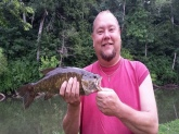 Caught in Frankfort Kentucky in the Elkhorn Creek waters. 3 pound and 14oz smallmouth bass caught on a booyah pond magic 1/8 oz micro Spinnerbait.