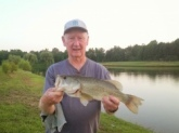 A 5lb plus Bass caught on a Junebug Speed Worm TX rigged. At a local pond here in Central NJ. Got 6 others that were from 2lb to 5ld.My 10yr old G-Son caught 5 Bass Wacky and Caroling rigs. Fun-Fun Good Fishing Fran